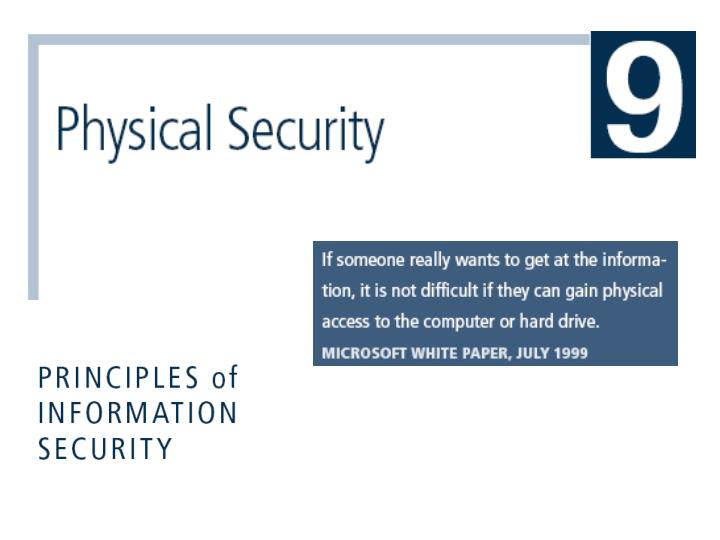 physical security principles 2018-8-6  physical security is an area that is relatively unknown to most information security professionals, and yet it is one of the most important elements of an effective and complete information security program.