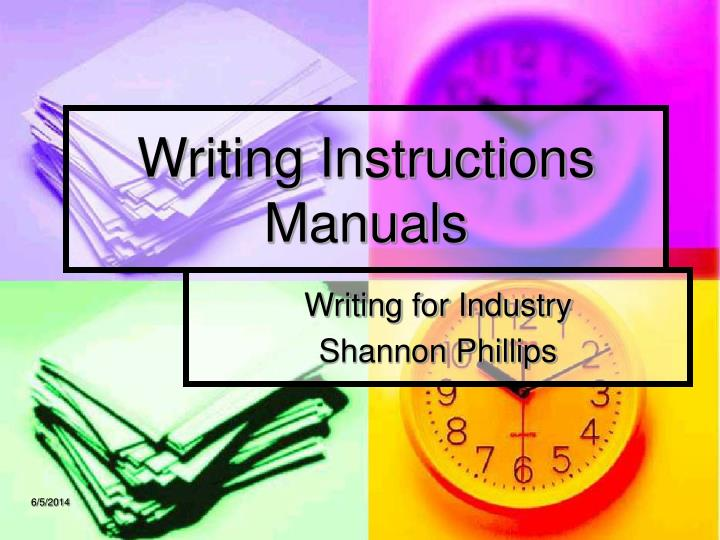 writing instructions manuals n.