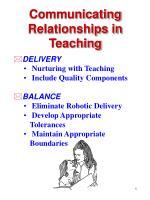 communicating relationships in teaching