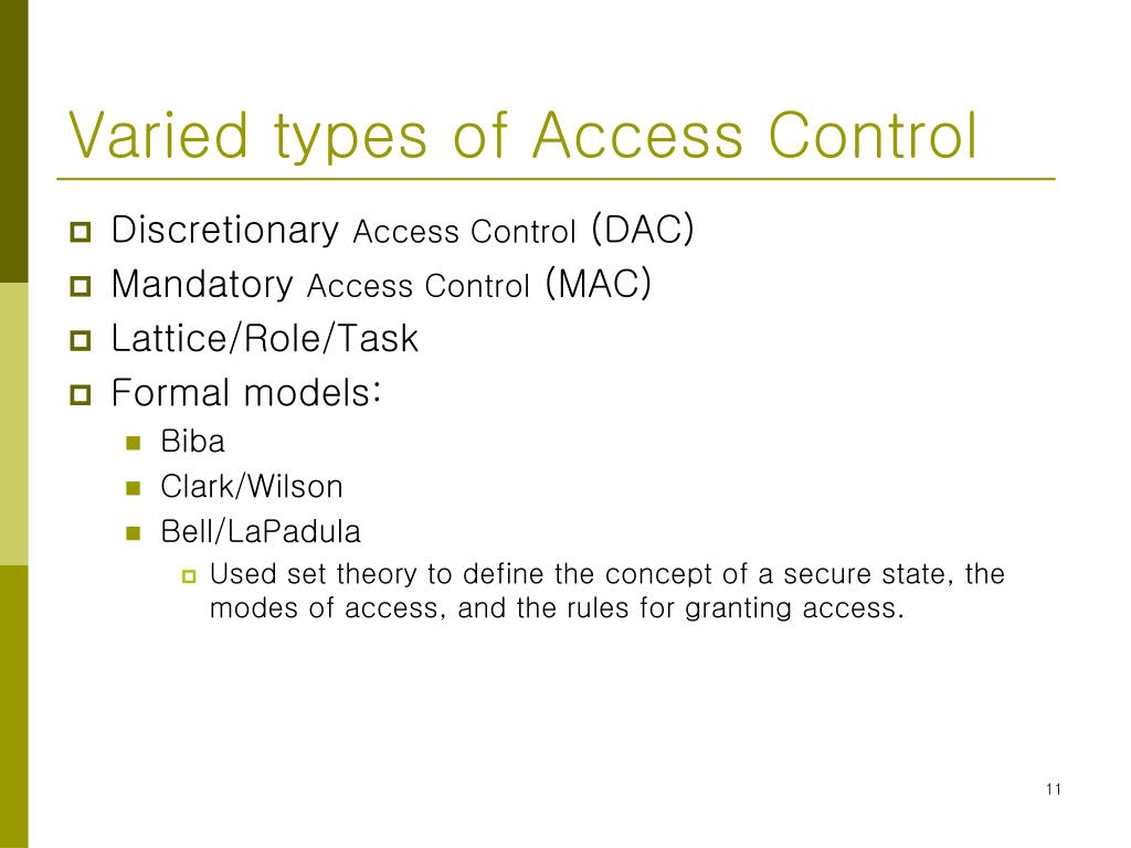PPT - Access Control Systems & Methodology PowerPoint Presentation