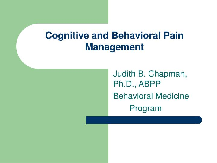 cognitive and behavioral pain management n.