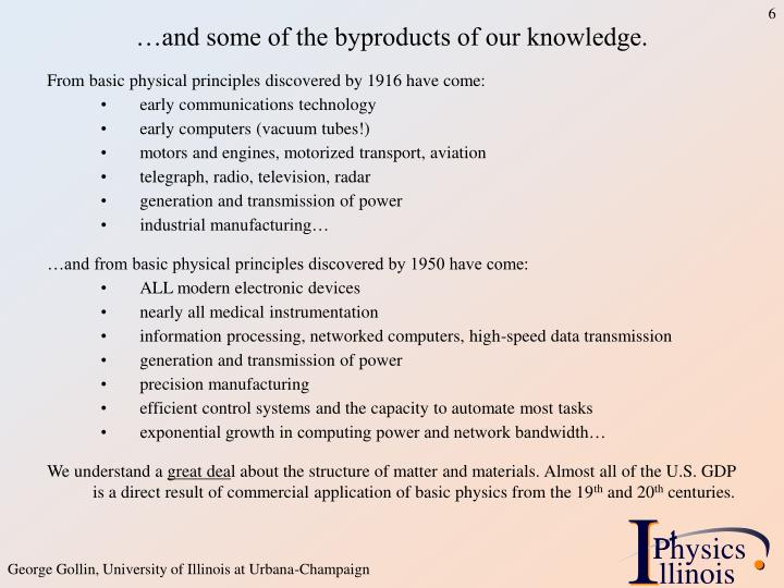 …and some of the byproducts of our knowledge.