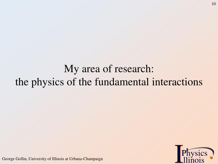My area of research: