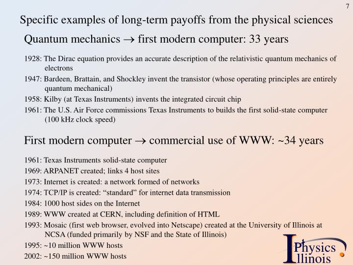 Specific examples of long-term payoffs from the physical sciences