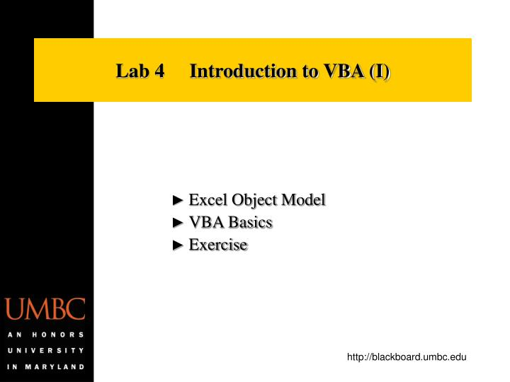 lab 4 introduction to vba i n.