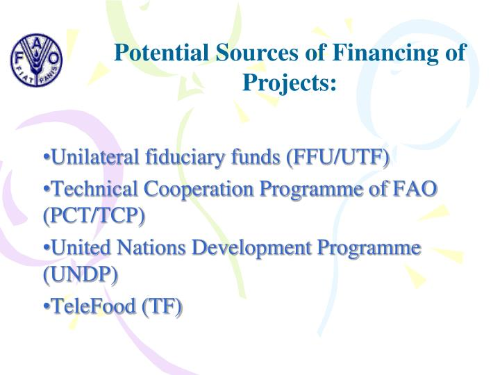 Potential Sources of Financing of Projects: