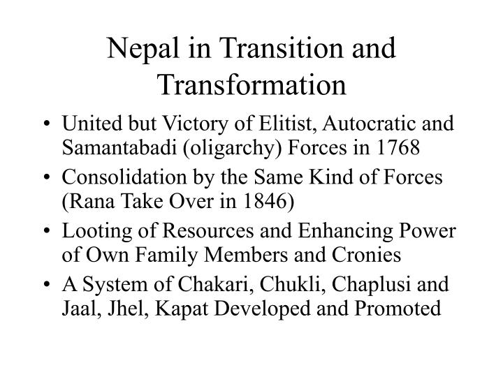 nepal in transition and transformation n.