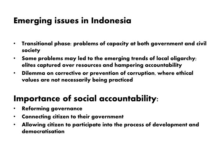 emerging issues in indonesia n.