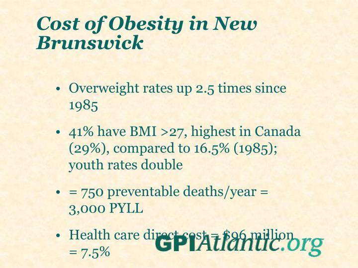 Cost of Obesity in New Brunswick