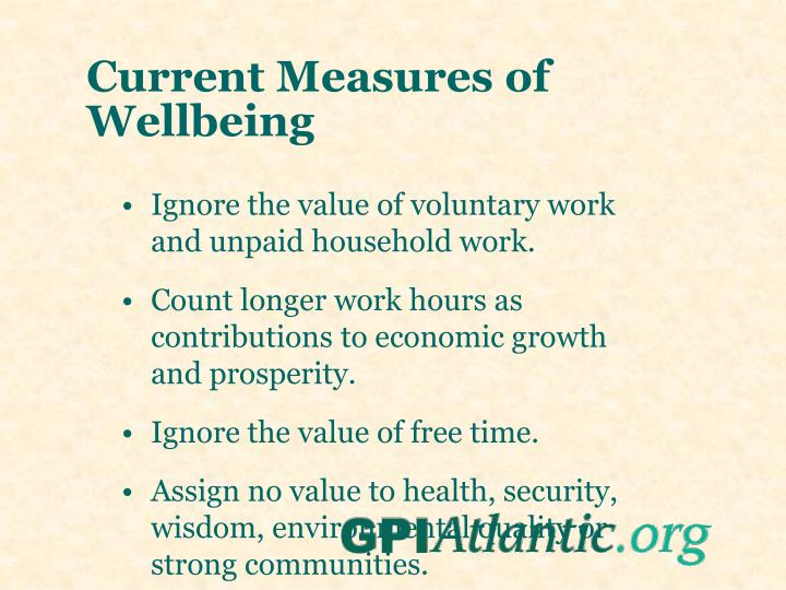 Current Measures of Wellbeing