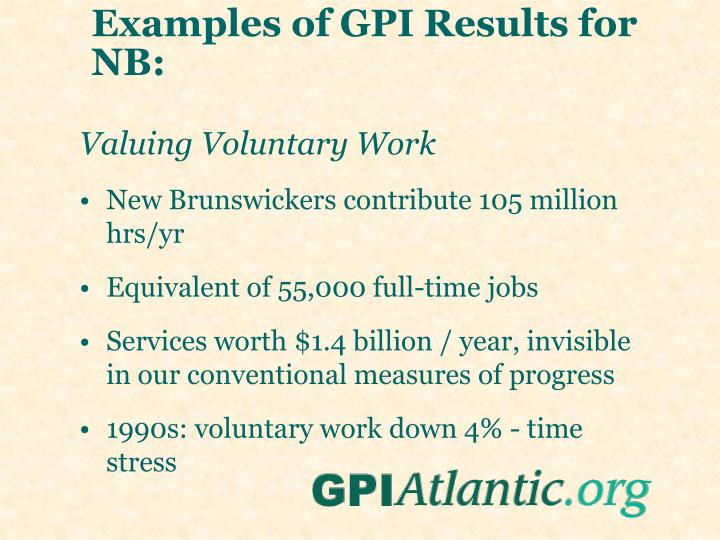 Examples of GPI Results for NB: