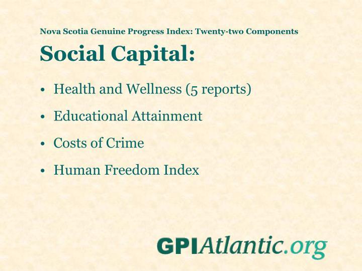 Nova Scotia Genuine Progress Index: Twenty-two Components