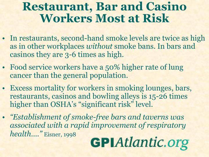 Restaurant, Bar and Casino Workers Most at Risk