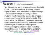 reason 1 mini body paragraph 1