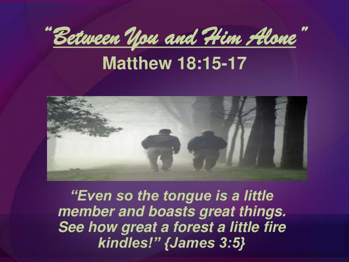 between you and him alone matthew 18 15 17 n.