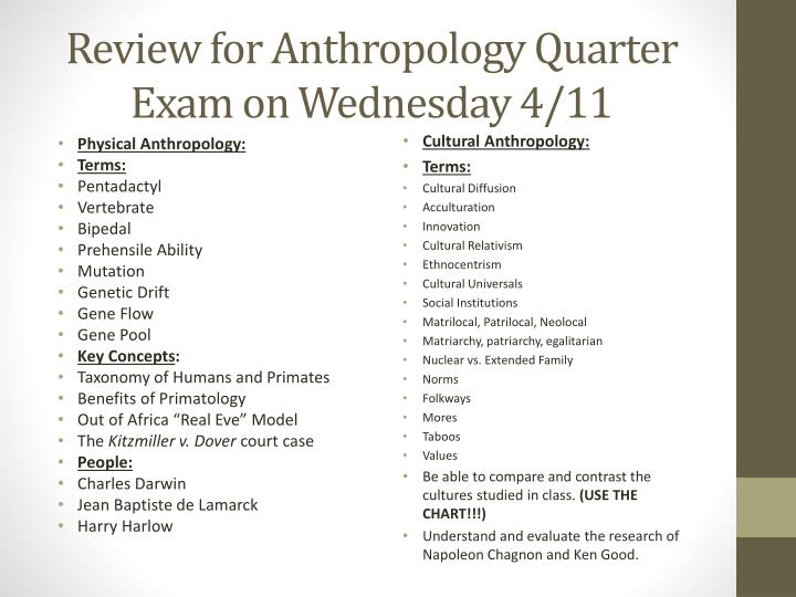 Review for anthropology quarter exam on wednesday 4 11