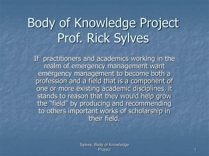 body of knowledge project prof rick sylves n.