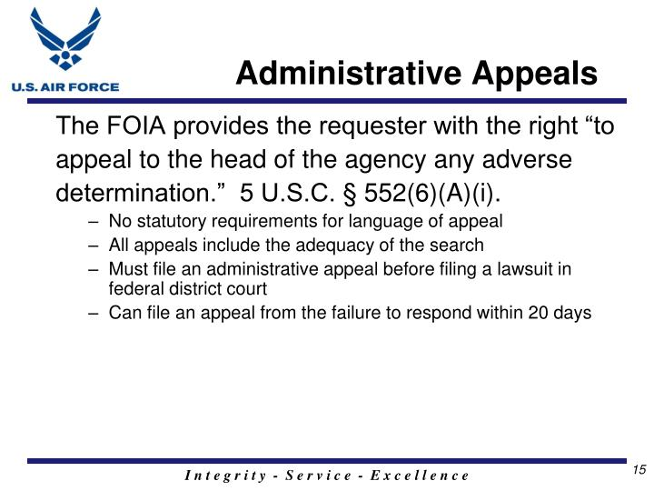 Administrative Appeals