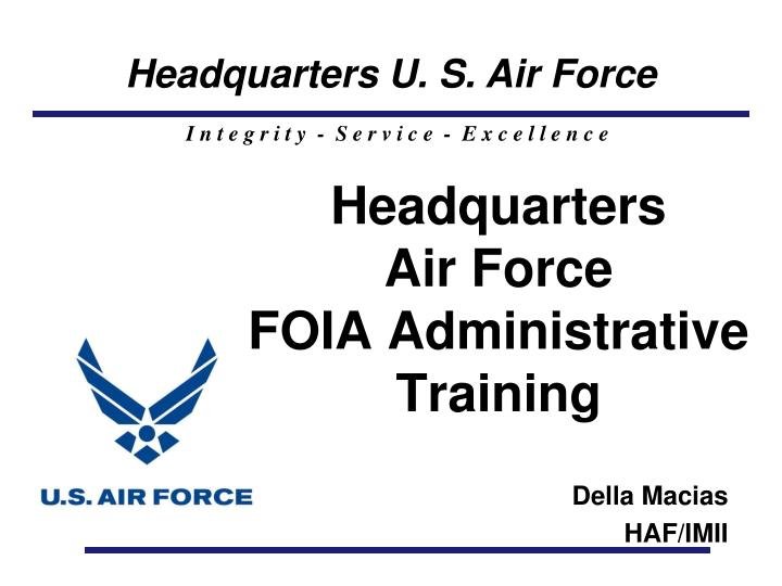 Headquarters air force foia administrative training