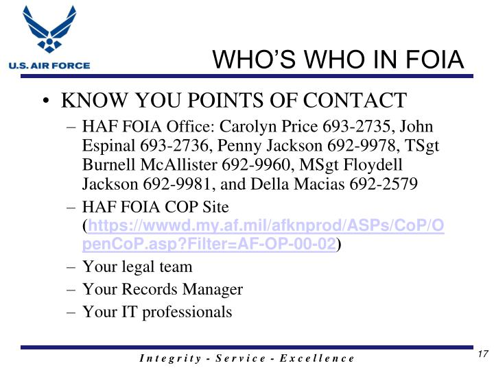 WHO'S WHO IN FOIA