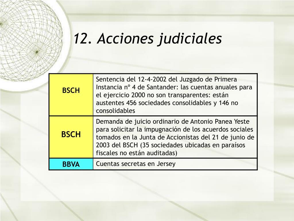 12. Acciones judiciales