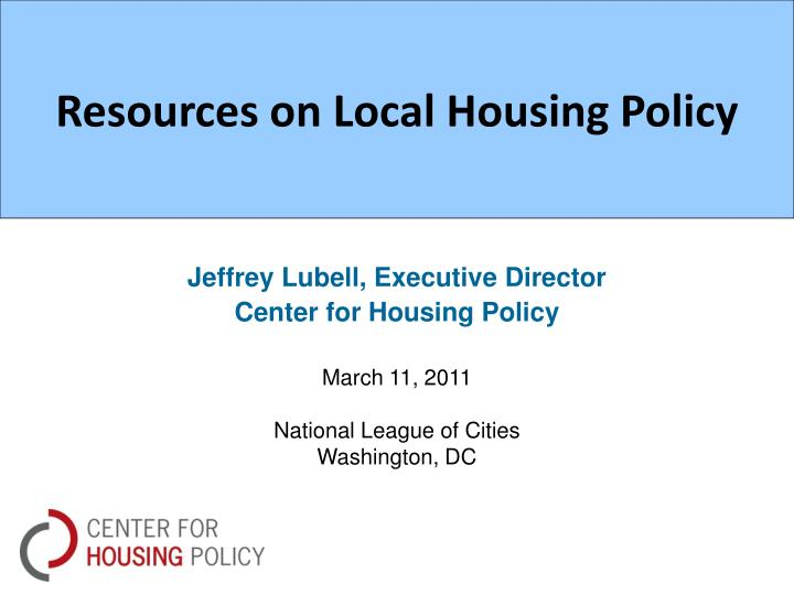 resources on local housing policy n.