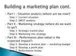 building a marketing plan cont