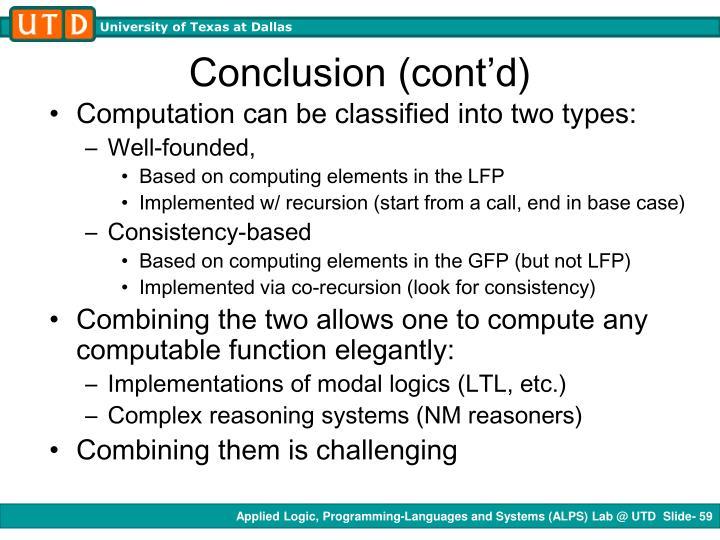 Conclusion (cont'd)