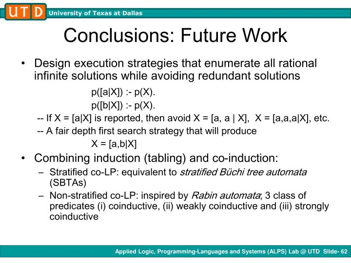 Conclusions: Future Work
