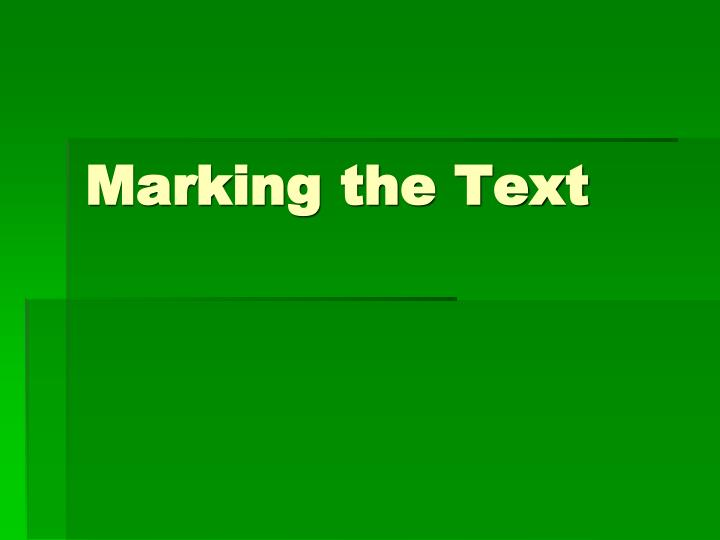 marking the text n.