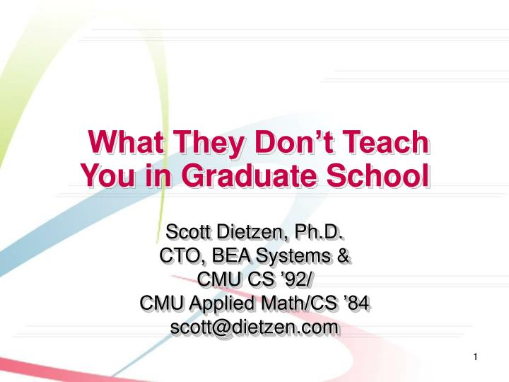 what they don t teach you in graduate school