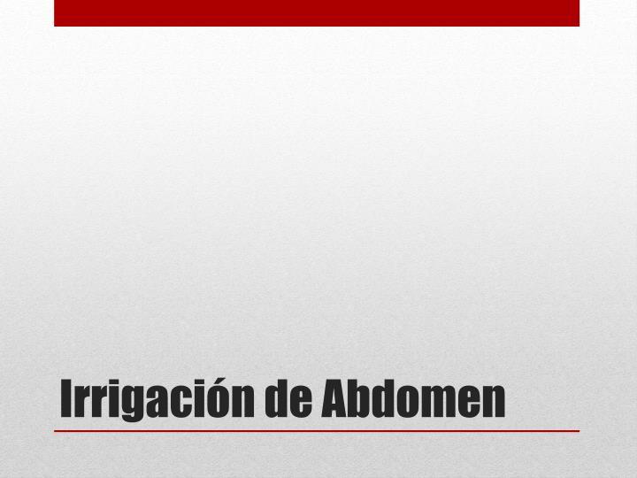 Irrigación de Abdomen