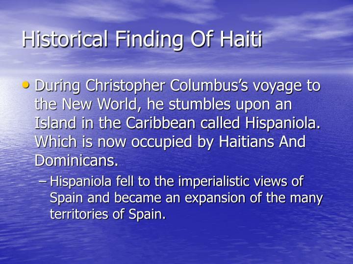 Historical finding of haiti
