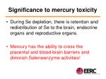 significance to mercury toxicity