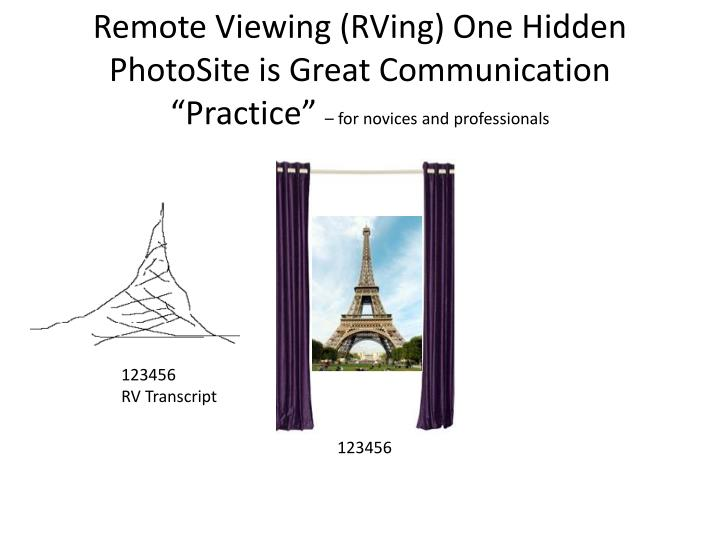 "Remote Viewing (RVing) One Hidden PhotoSite is Great Communication ""Practice"""