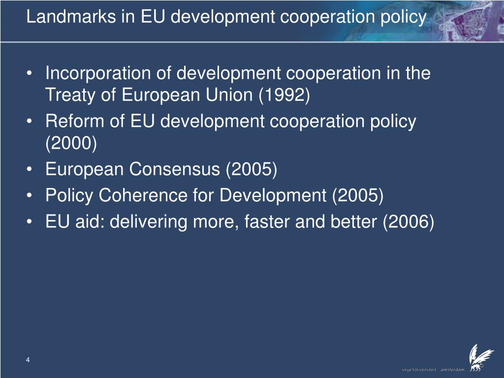 Landmarks in EU development cooperation policy