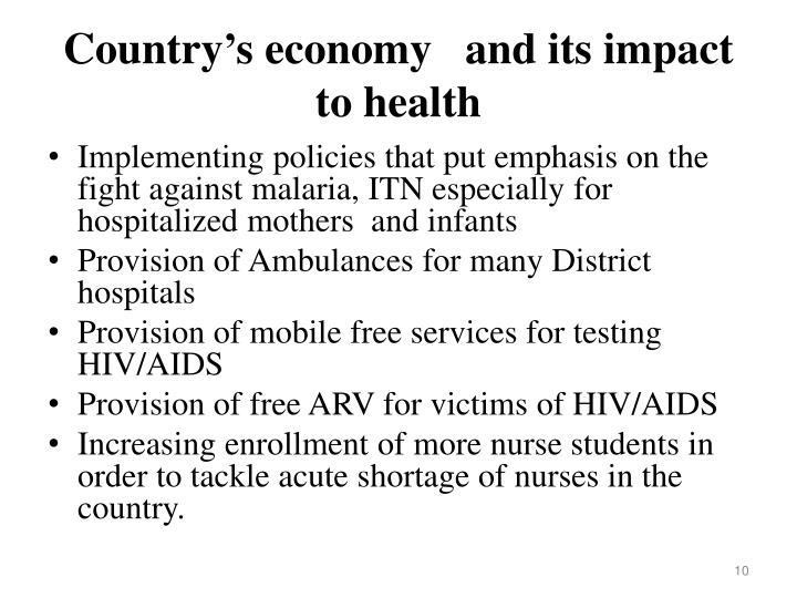 Country's economy   and its impact  to health