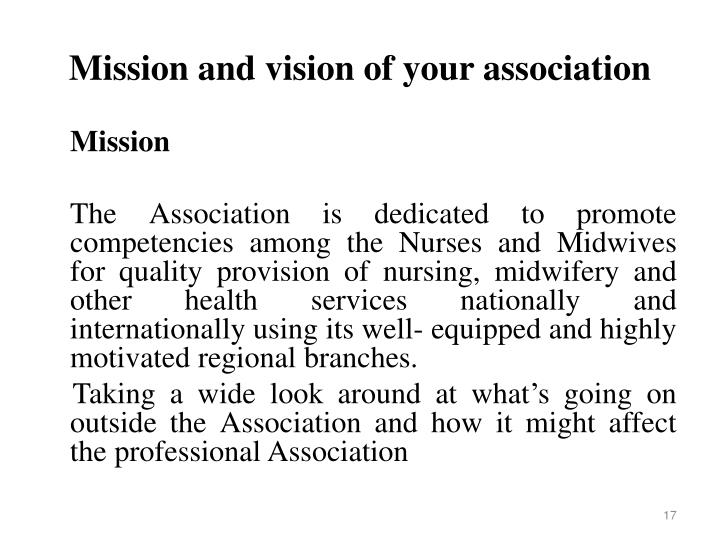 Mission and vision of your association