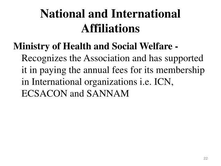 National and International Affiliations