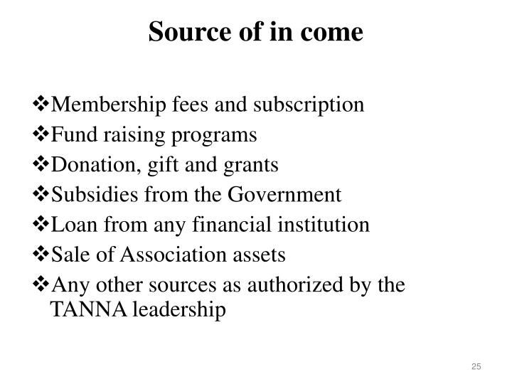Source of in come