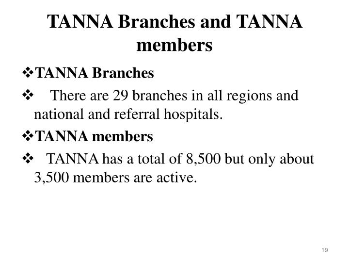 TANNA Branches and TANNA members