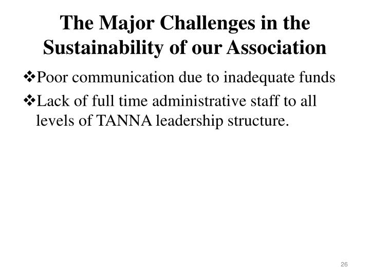 The Major Challenges in the Sustainability of our Association