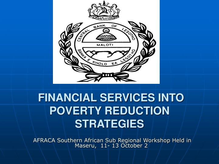 financial services into poverty reduction strategies n.