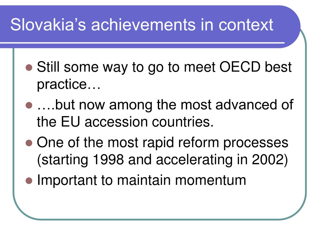 Slovakia's achievements in context