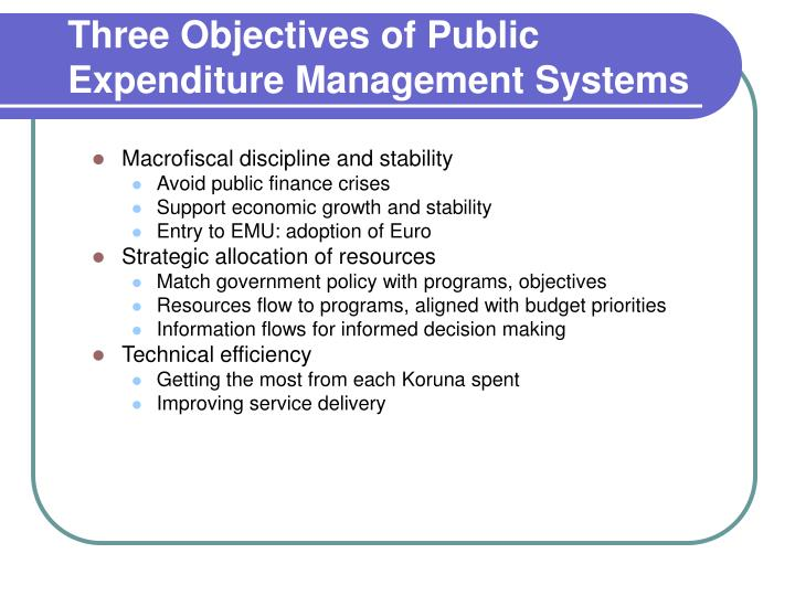 Three objectives of public expenditure management systems