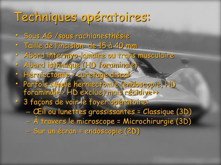 Techniques op ratoires