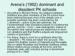 arena s 1992 dominant and dissident pk schools