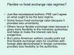 flexible vs fixed exchange rate regimes