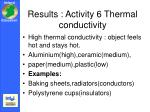 results activity 6 thermal conductivity