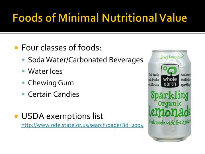 Foods of Minimal Nutritional Value